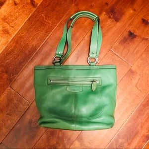 Coach leather green handbag